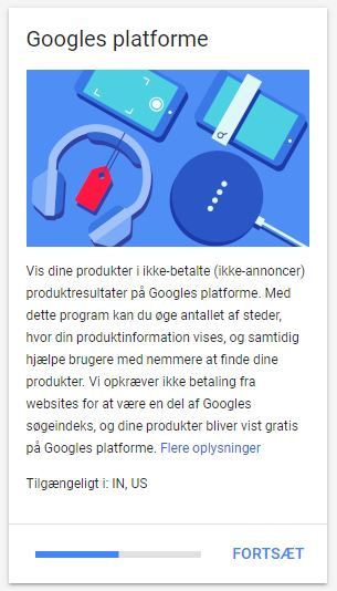Googles platforme i Merchant Center