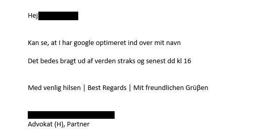 Reaktion fra konkurrent onlinesynligheddk