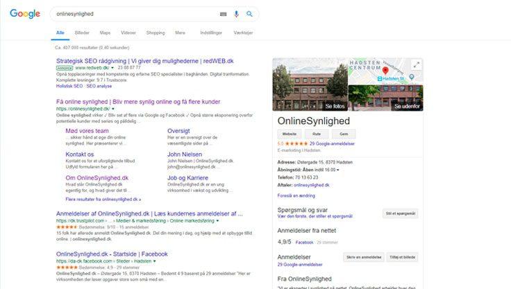Google My Business Online Synlighed