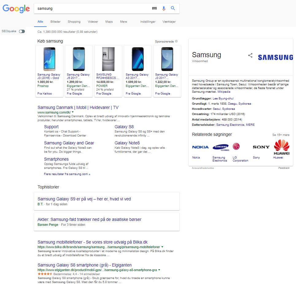 Googlesøgning efter Samsung