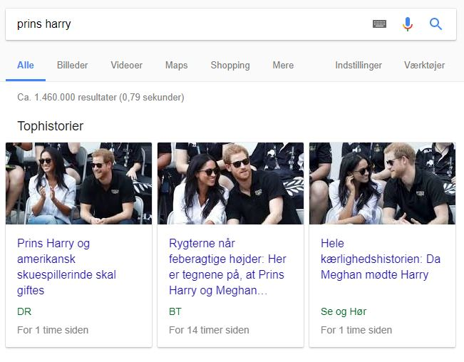 Eksempel på Googles Tophistorier