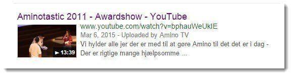 Der er stadig authorship billeder på visse videoresultater fra YouTube. Her en video af awardshow ifm. AminoTastic