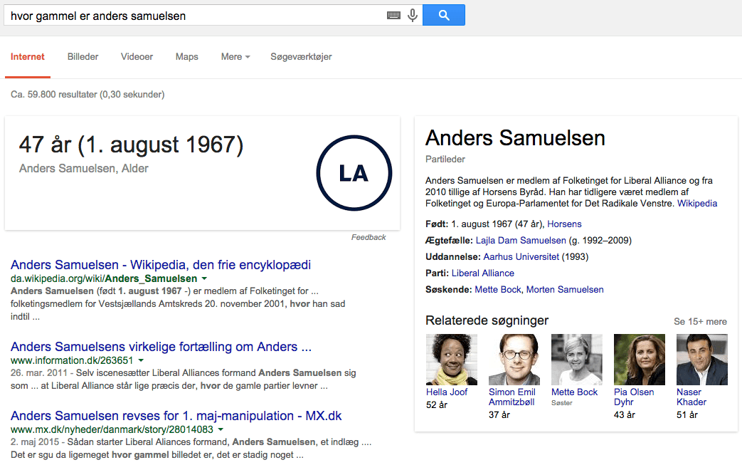 Semantisk søgning på Anders Samuelsen i Google