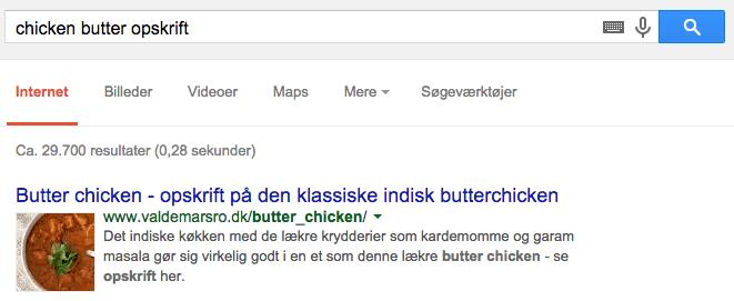 Chicken butter  opskrift søgeresultat