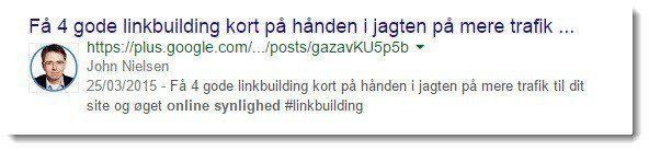 Der er stadig authorship billeder søgeresultater fra Google Plus. Her en en opdatering fra OnlineSynlighed.dk's stifter John Nielsen.
