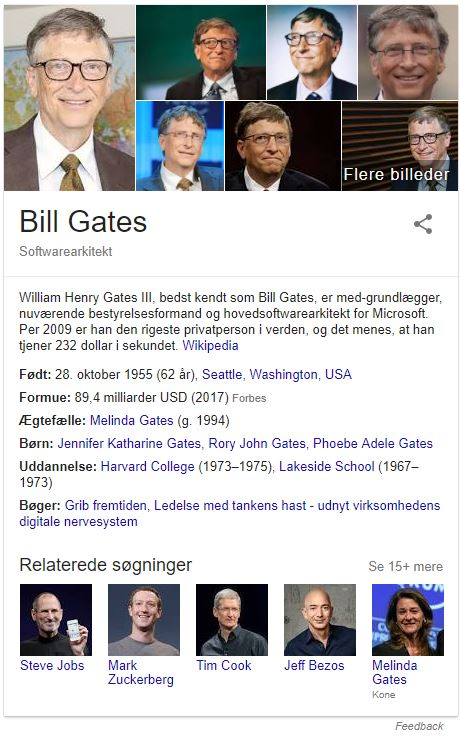 Knowledge graph om personer, her et eksempel med Bill Gates