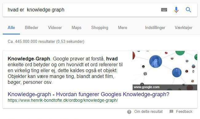 Eksempel på knowledge graph