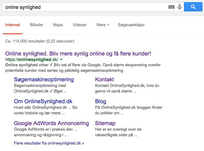 OnlineSynlighed.dk i SERP's