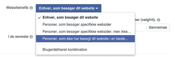 """""""Personer, der ikke har besøgt dit website i en bestemt periode"""":"""