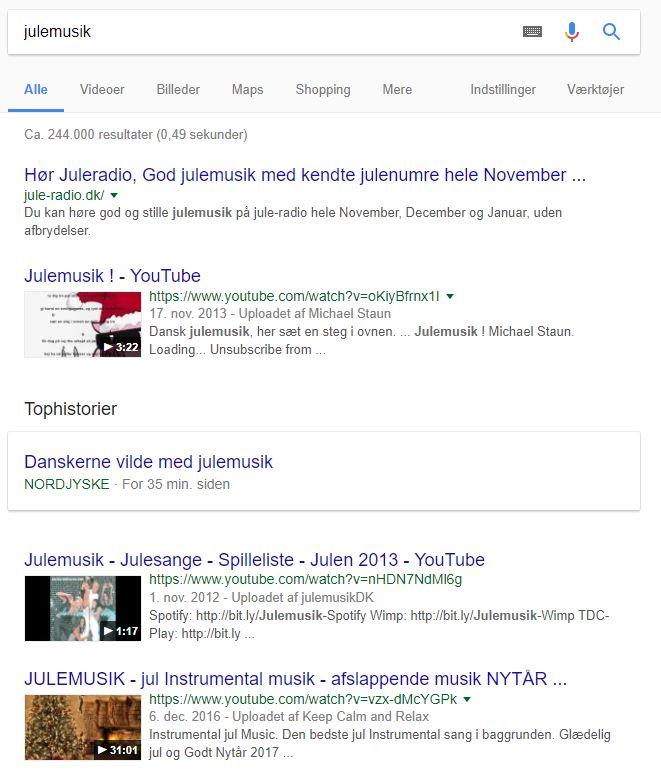 Eksempel på YouTube-videoer i Googles søgeresultater